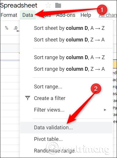 Chọn Data Validation