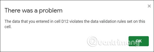 Thông báo chung chung khi nhập sai dữ liệu