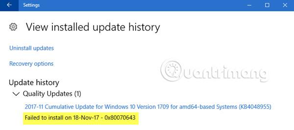 Sửa lỗi 0x80070643 trên Windows
