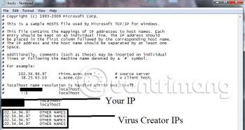 Nếu bạn bị hack, sẽ có một loạt các IP khác được kết nối với bạn ở phía dưới