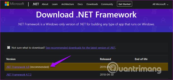 Cài đặt .NET Framework