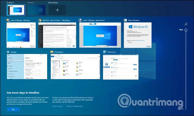 Sử dụng Task View với Windows + Tab