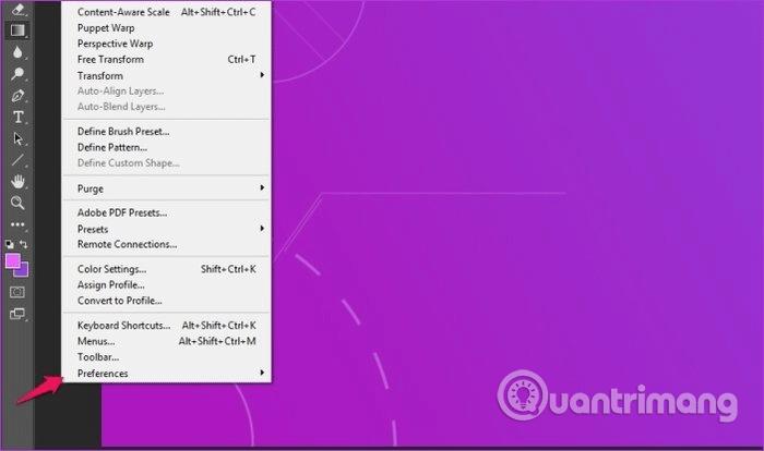 Select the Preferences option