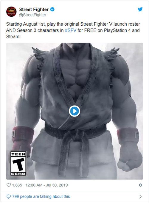 Twitter đang công bố Street Fighter V miễn phí