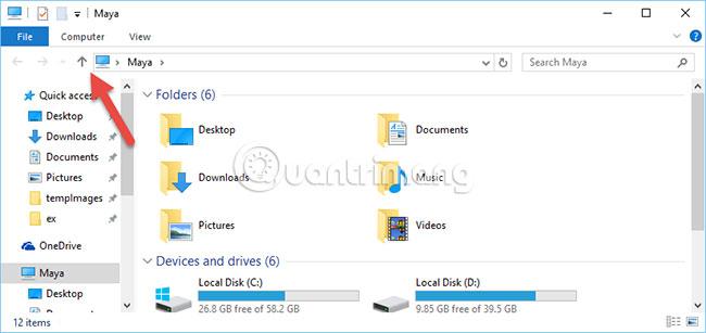 Di chuyển lên một thư mục trong File Explorer