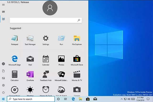 Hình ảnh giao diện Start Menu rò rỉ từ bản cập nhật Windows 10 Build 18947