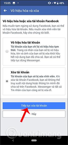 Hướng dẫn xóa Facebook tạm thời, vĩnh viễn trên Android - Ảnh minh hoạ 13