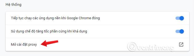 Click chọn Mở cài đặt proxy