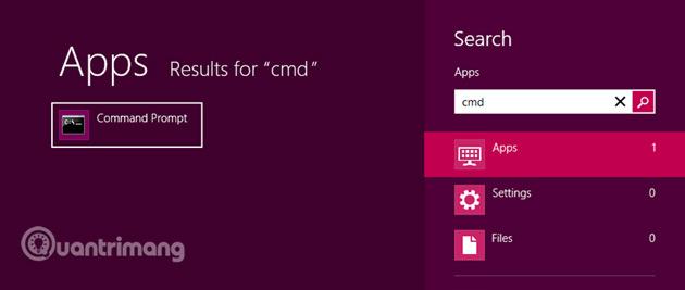 """Nhập cụm từ """"cmd"""" vào thanh tìm kiếm để tìm Command Prompt."""