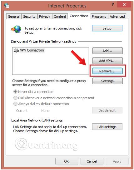 Xóa kết nối VPN tại đây bằng nút Remove