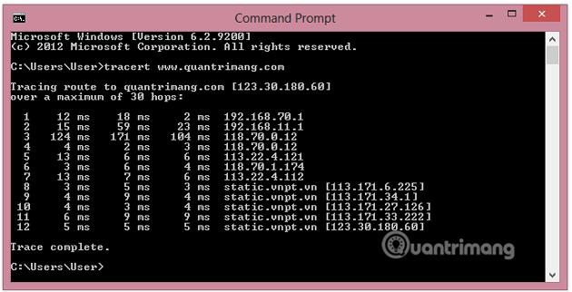 Nhập câu lệnh trên cửa sổ Command Prompt