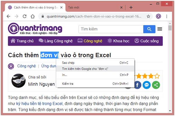 Chọn từ hay cụm từ, kích chuột phải và chọn Tìm kiếm trên Google cho...
