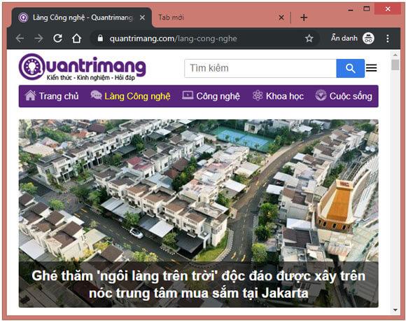 Website Quantrimang.com ở chế độ ẩn danh