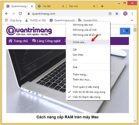 Chọn Chỉnh sửa sau khi click chuột phải vào trang đã bookmark