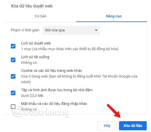 Trên cửa sổ Xóa dữ liệu duyệt web, click chọn Xóa dữ liệu.