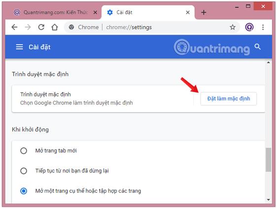 Đặt Chrome làm trình duyệt mặc định