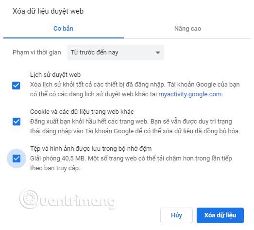 Xóa dữ liệu duyệt web