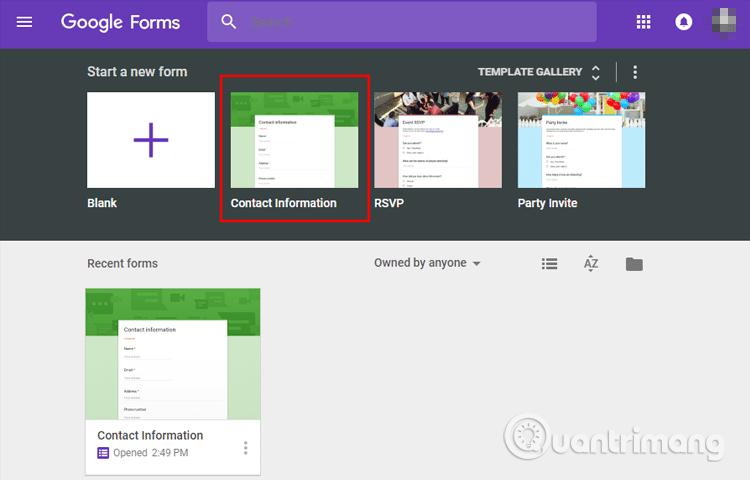 Cách tạo biểu mẫu liên hệ trang web bằng Google Forms