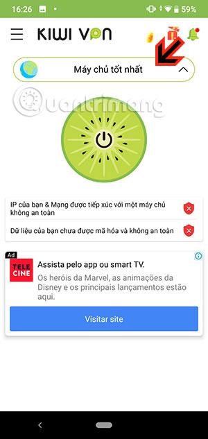 Kiwi VPN chế độ xem đầu tiên