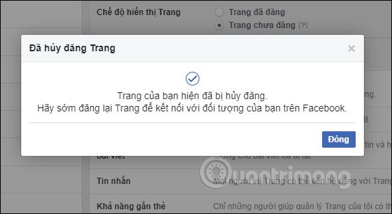 Hướng dẫn cách khóa, ẩn Fanpage Facebook tạm thời