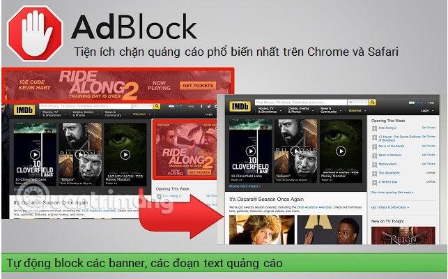AdBlock - Tiện ích chặn quảng cáo phổ biến nhất trên Chrome và Safari