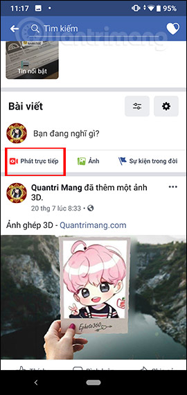 Live stream Facebook Android
