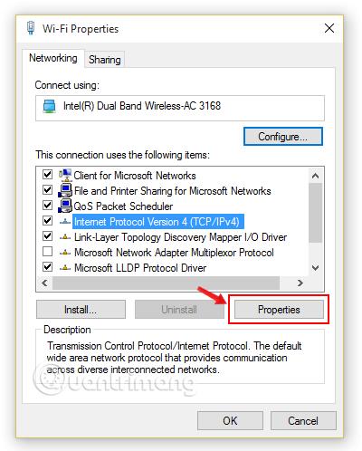 Chọn Internet Protocol Version 4 (TCP/IPv4)