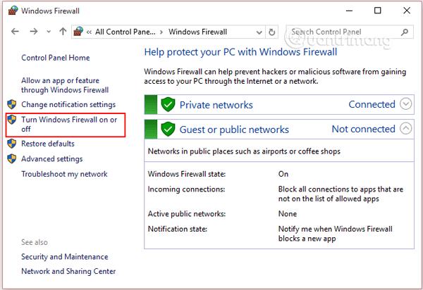 Chọn Windows Firewall rồi click chọn liên kết Turn Windows Firewall on or off
