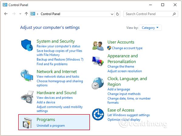 Chọn Uninstall a program rồi tiến hành gỡ bỏ cài đặt trình duyệt Chrome ra khỏi máy tính