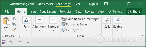 Một dạng khác là tài liệu được mở dưới dạng read-only