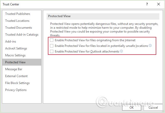 Bỏ tích trước các tùy chọn để vô hiệu hóa Protected View