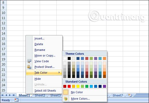 Chọn màu sắc cho Sheet