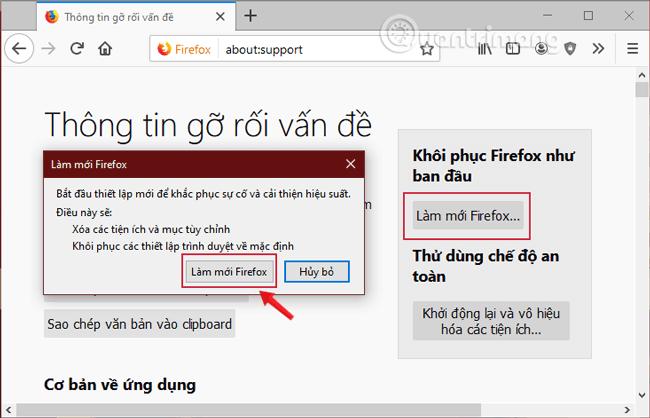 Làm mới Firefox để trình duyệt chạy nhanh hơn