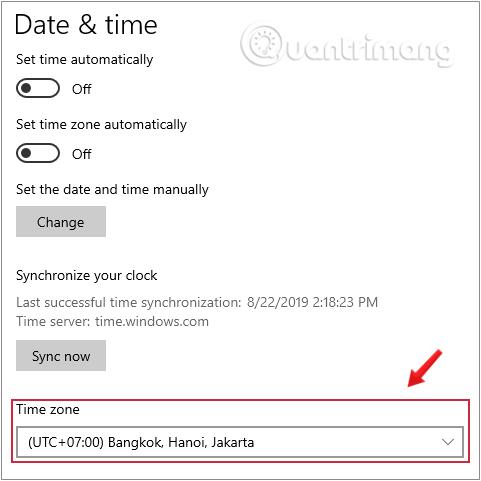 Kiểm tra múi giờ của máy tính