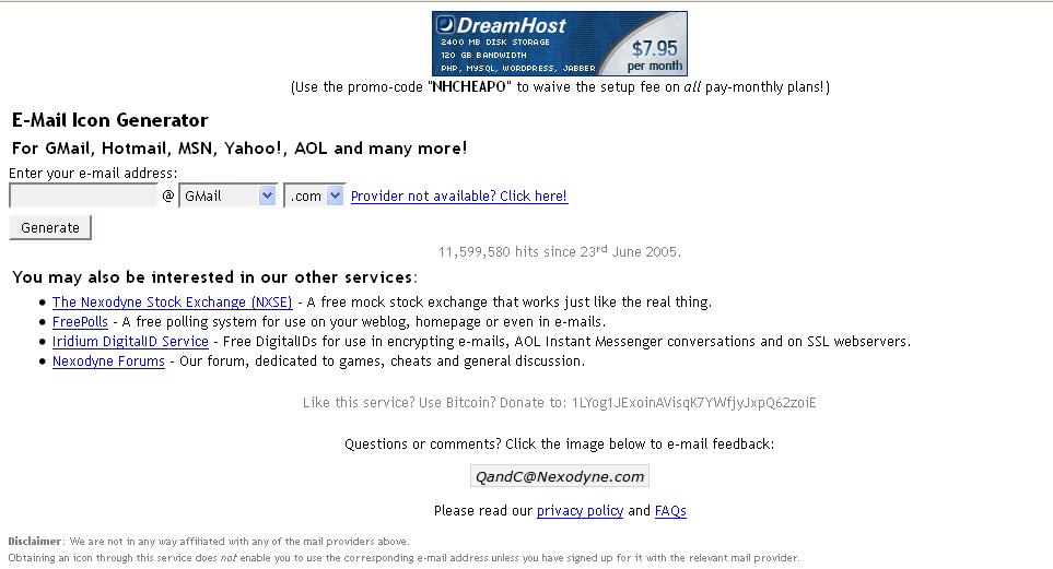 Trang web E-mail Icon Generator