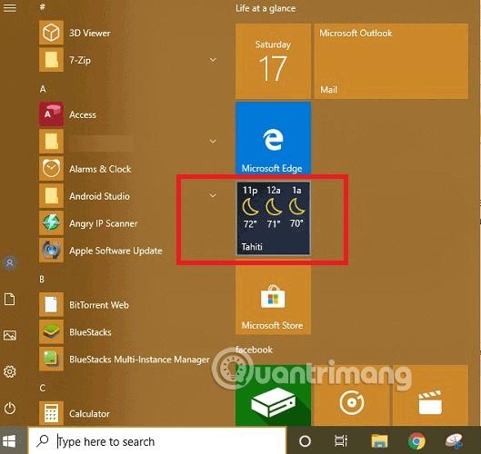 Tìm ứng dụng Weather từ menu Start