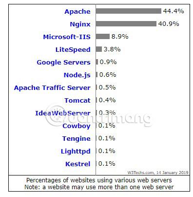 Nginx và Apache chiếm lĩnh gần 85% thị trường máy chủ web