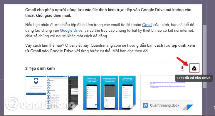 Đường dẫn mở file đính kèm Gmail đã được lưu trong Drive
