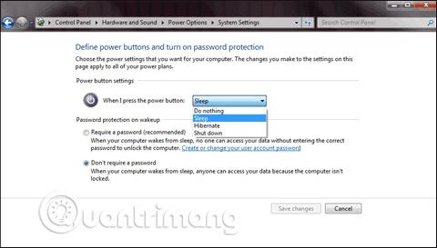 Trong khu vực Power and sleep button settings, bấm vào When I press the power button