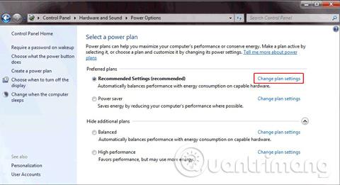 Trong cửa sổ Power plan, tìm gói năng lượng mà bạn đang sử dụng