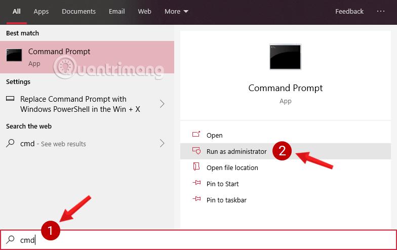 Mở Command Prompt trong Windows 10 phiên bản mới