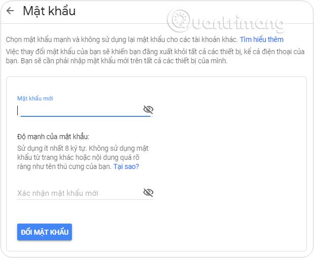 Nhập mật khẩu mới tại Mật khẩu mới tại giao diện này