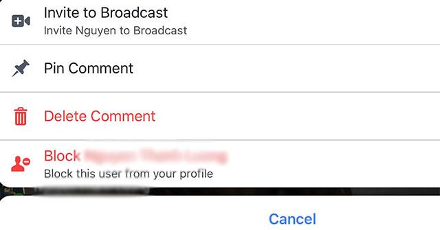 Cách ghim bình luận Livestream Facebook