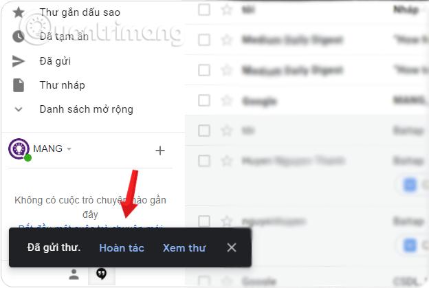 Kiểm tra việc kích hoạt bằng cách gửi một mail bất kỳ để thử hoàn tác