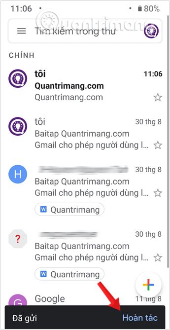 Hoàn tác thư đã gửi Gmail trên thiết bị Android