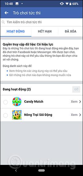 Gỡ trò chơi Facebook