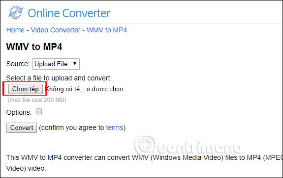 Convert video trên onlineconverter
