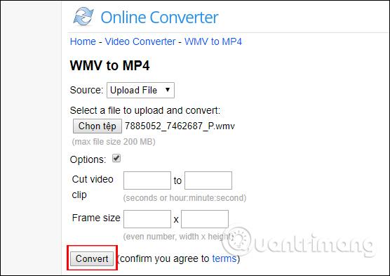 Tiến hành convert video trên onlineconverter