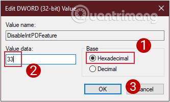 Chọn Hexadecimal và thay đổi giá trị của nó thành 33