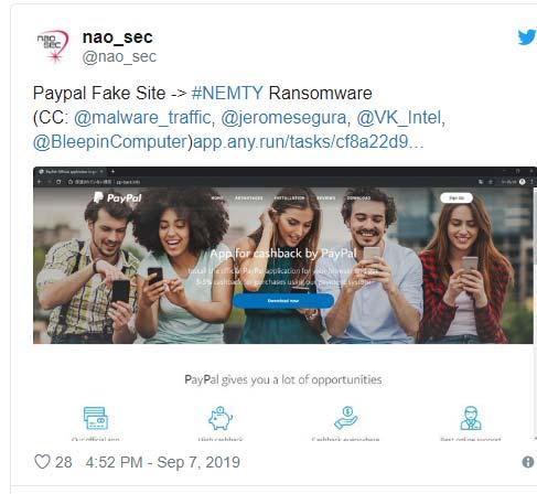 Nhà nghiên cứu bảo mật có nickname nao_sec đã tìm thấy kênh phân phối của mã độc Nemty